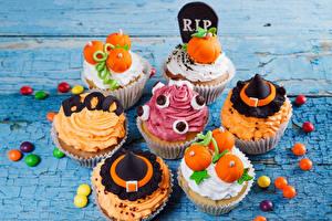 Картинки Хэллоуин Пирожное Конфеты Капкейк кекс Дизайн Продукты питания