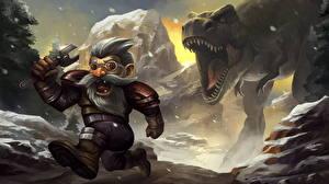 Фотографии Hearthstone: Heroes of Warcraft Динозавры Гномы Бег Злость Tinkmaster Overspark Игры Фэнтези