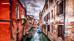 Фото Здания Италия Венеция Водный канал Gondola