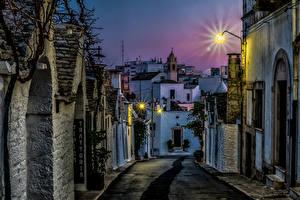 Фотография Италия Здания Вечер Улица Puglia Города