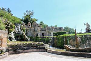 Картинки Италия Парки Водопады Фонтаны Villa D'Este Tivoli