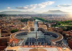 Фотография Италия Рим Сверху Городская площадь Vatican Города
