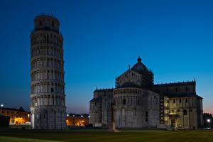 Фотография Италия Тоскана Вечер Храмы Церковь Башня Pisa Города