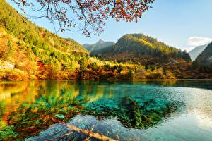 Фотография Цзючжайгоу парк Китай Парки Горы Осень Озеро Леса Пейзаж