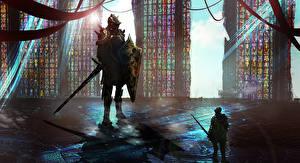 Картинки Рыцарь Доспехи Вдвоем Мечи Фантастика