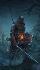 Картинки Рыцарь Dark Souls Броня Мечи Щит Фантастика