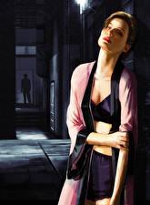 Картинки L.A. Noire Шатенка Девушки
