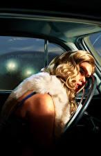 Картинки L.A. Noire Мертвец Блондинка Рулевое колесо Девушки