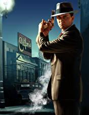 Фото L.A. Noire Мужчины Пистолеты Шляпа Полицейские Костюм Игры