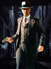 Фото L.A. Noire Мужчины Пистолет Шляпе Полицейский Классический костюм компьютерная игра