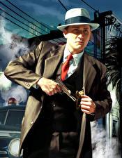 Картинка L.A. Noire Мужчины Пистолетом Шляпы Полицейская Костюм компьютерная игра