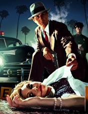 Обои L.A. Noire Мужчины Полицейские Мертвый труп Кровь Шляпа Игры Девушки