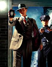 Фотографии L.A. Noire Мужчины Полицейская 2 Шляпе Костюме Игры