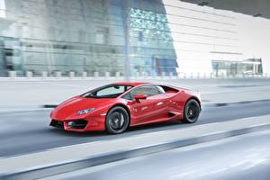Обои Lamborghini Движение Красный LP 580-2 Huracan авто