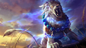 Картинка Львы Heroes of Newerth Оскал Lion of Sol, Gemini Фэнтези