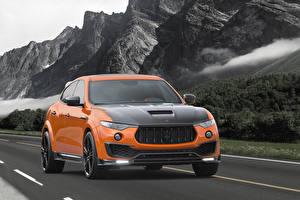 Картинки Мазерати Оранжевый Металлик 2017 Mansory Levante Авто