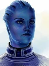 Фотография Mass Effect 3 Liara Голова Смотрит Инопланетяне Фэнтези