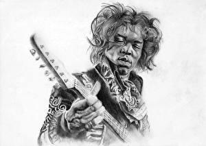Картинка Мужчины Рисованные Черно белое Белый фон Негр Гитара Jimi Hendrix Музыка