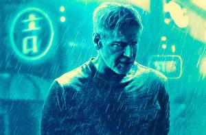 Картинки Мужчины Дождь Бегущий по лезвию 2049 Харрисон Форд Кино Знаменитости