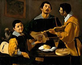 Картинка Мужчины Скрипки Живопись Гитара Втроем Diego Velazquez, The Three Musicians