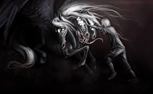 Картинка Чудовище Черно белое Фантастика