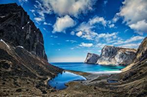 Фотографии Горы Берег Небо Норвегия Лофотенские острова Vestervika