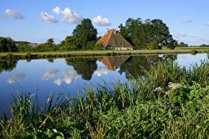 Обои Нидерланды Реки Дома Трава Природа картинки