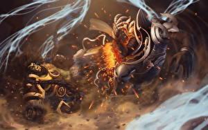 Картинки Орки Heroes of the Storm Diablo 3 Волшебство Ангелы Archangel of Wisdom, Thrall,  Angel of Death, Malthael Фэнтези