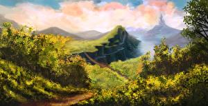 Картинка Рисованные Мосты Холмы
