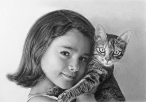 Обои Рисованные Кошки Черно белое Смотрит Ребёнок