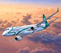 Фото Рисованные Самолеты Пассажирские Самолеты Летящий Embraer ERJ 19 Авиация