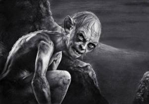 Обои Рисованные Черно белое Взгляд The Hobbit: An Unexpected Journe, Gollum Фэнтези