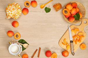Картинки Персики Нож Варенье Разделочная доска