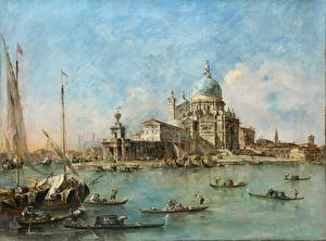 Обои Картина Лодки Церковь Италия Венеция Francesco Guardi, Venice, A View of the Entrance to the Grand Canal with the Church of Santa Maria Della Salute and the Punta Della Dogana