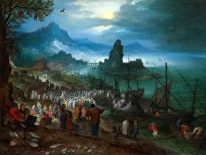 Картинки Живопись Берег Jan Brueghel The Elder, Harbour Scene with Christ preaching