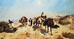 Фотографии Живопись Пустыни Верблюды Jean-Leon Gerome, Crossing the Desert