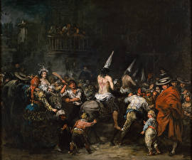 Обои Картина Eugenio Lucas Velazquez, Condemned by the Inquisition