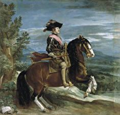 Картинка Живопись Лошади Мужчины Diego Velázquez, Equestrian Portrait of Philip IV
