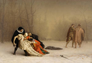Фото Живопись Мужчины Jean-Léon Gérôme, The Duel After the Masquerade