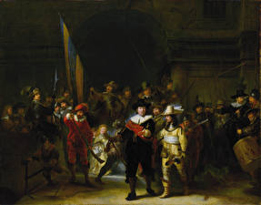 Обои Картина Мужчины Gerrit Lundens, Copy of The Night Watch by Rembrandt
