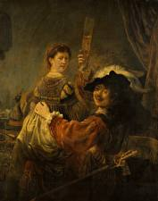 Картинки Живопись Мужчины Rembrandt Harmenszoon van Rijn, Self-portrait as the Prodigal Son in the Tavern(self-Portrait with Saskia on his knees)