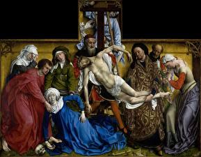 Картинка Живопись Крест Rogier van der Weyden, Descent from the Cross
