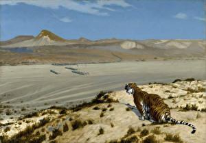 Фотография Живопись Тигры Jean-Leon Gerome, Tiger on the Watch