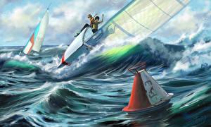 Фотографии Картина Волны Лодки Парусные Рисованные Мальчики