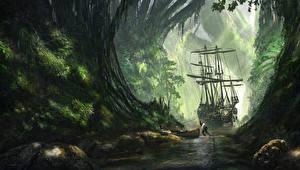 Картинка Пираты Корабли Парусные Лодки Реки Фантастика