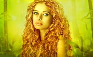 Картинка Рыжая Взгляд Волосы Девушки Фэнтези