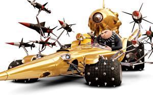 Картинки Ракета Белый фон Despicable Me 3 Автомобили 3D_Графика