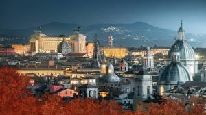 Фотографии Рим Италия Здания Ночные Купол Города