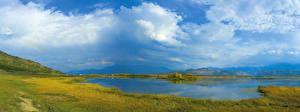 Фотография Россия Сибирь Речка Небо Луга Трава Облака Природа