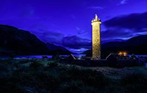 Фото Шотландия Берег Маяки Горы Ночь Glenfinnan Природа